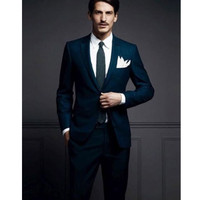 Fashion classic men's suit blue lapel single breasted men's prom dress and business office suite (jacket + pants) custom made