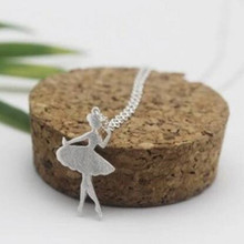 New Fashion Personality 925 Silver Jewelry Allergy Wire Drawing Beautiful Ballet Girl Pendant Necklace  H122