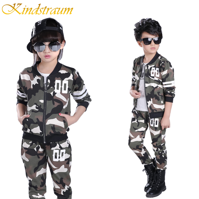 Kindstraum 2017 Children Clothing Sets Camouflage Kids Sports Suits Boys Girls Spring Tracksuits 2pcs Casual Coat Pant, MC382