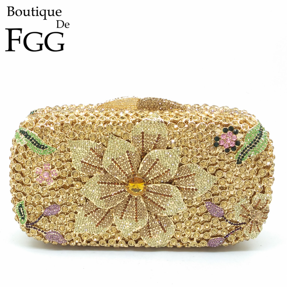 Boutique De FGG Women Flower Gold Crystal Evening Handbags Wedding Party Ladies Box Clutch Shoulder Bag Bolsa Feminina PequenaBoutique De FGG Women Flower Gold Crystal Evening Handbags Wedding Party Ladies Box Clutch Shoulder Bag Bolsa Feminina Pequena
