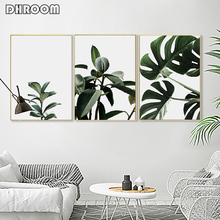 Set of 3 Tropical Leaves Wall Art Green Leaves Fresh Canvas Painting Minimalist Poster Prints Nordic Modern Art Decoration