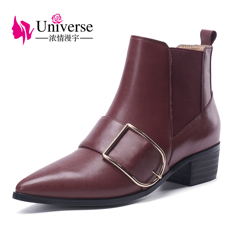 Universe big buckle decorated chelsea boots women med heel pointed toe shoes genuine leather boots G299 new arrival superstar genuine leather chelsea boots women round toe solid thick heel runway model nude zipper mid calf boots l63