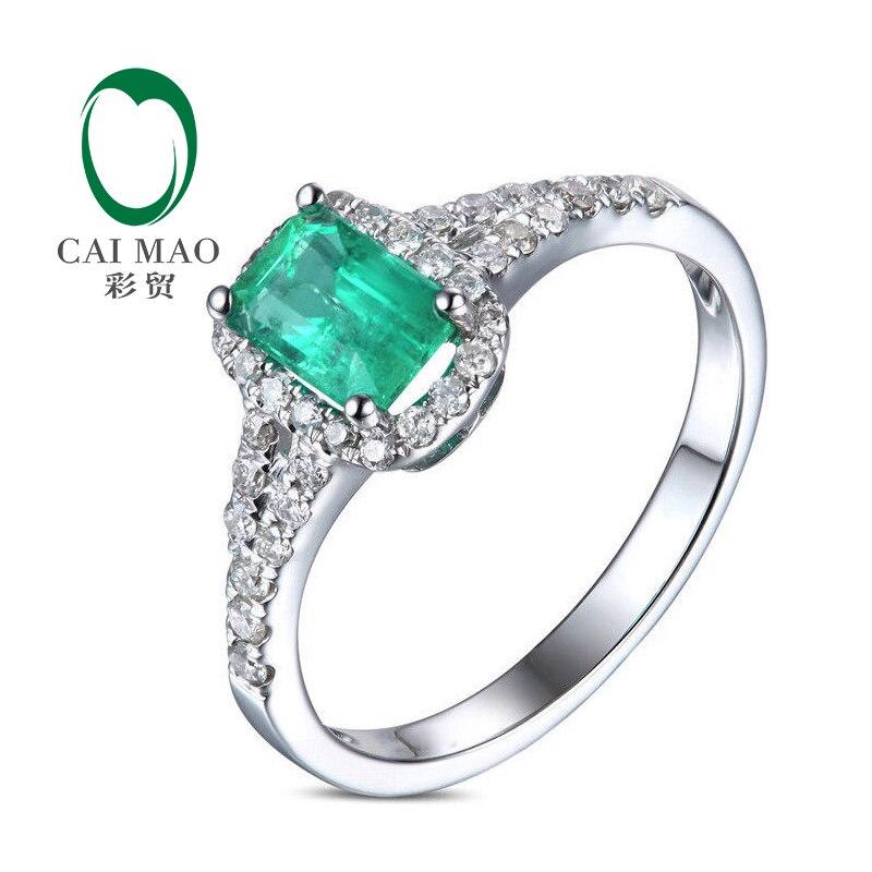 aff7fa47324 € 551.16 |¡Puro 14 KT oro blanco 1.09ctw diamante Esmeralda colombiana  anillo de compromiso promoción!-in Anillos from Joyería y accesorios on ...