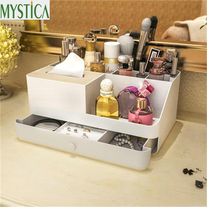 MYSTICA Two layer Plastic Storage Box Makeup Jewelry Drawers Organizer Case Container Make up Cosmetic Office Organizer Boxes