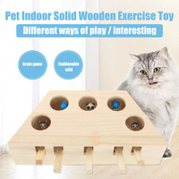 Whack Mole Mouse Cat Exercise Toy Solid Wooden Puzzle Box with 3/5 Holes Pet Toys XHC88
