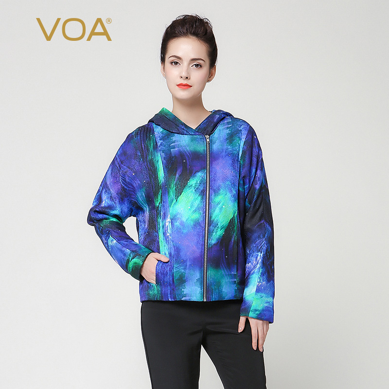 VOA Luxury Silk Short Hooded Parka For Women Blue And Cyan Straight Zippers Cotton-Padded Clothes Spring Thickening Coat M7253