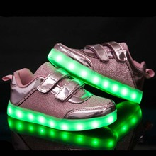 New Fashion Kids Shoes Led Luminous Light Up Sneakers Gold Autumn Boys Girls Breathable Glowing Casual Children KD 8 Shoes