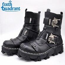 1d11a9dd8831c0 Männer Stiefel Mode Coolen Schwarzen Rinds Echtem Leder Uniform  mittler-kalb Schuhe Schädel Stiefel