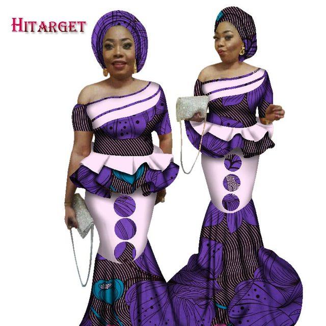 2019 Bazin Riche African Print Kanga Clothing 2 Piece Set with Headtie Women  African Crop Top Long Mermaid Skirt Set WY2526 d1379cf4bd4a