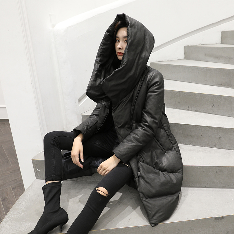 High grade winter real leather women sheepskin   coat     down     coat   thick warm real leather   down   jacket outwear overcoat hooded   down