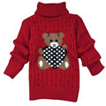 2-9 Age 2016 Winter New Child Boys Girls Sweaters Warm Thickening Kids Knitted Pullover Cute Bear Long Sleeve Turtleneck Sweater