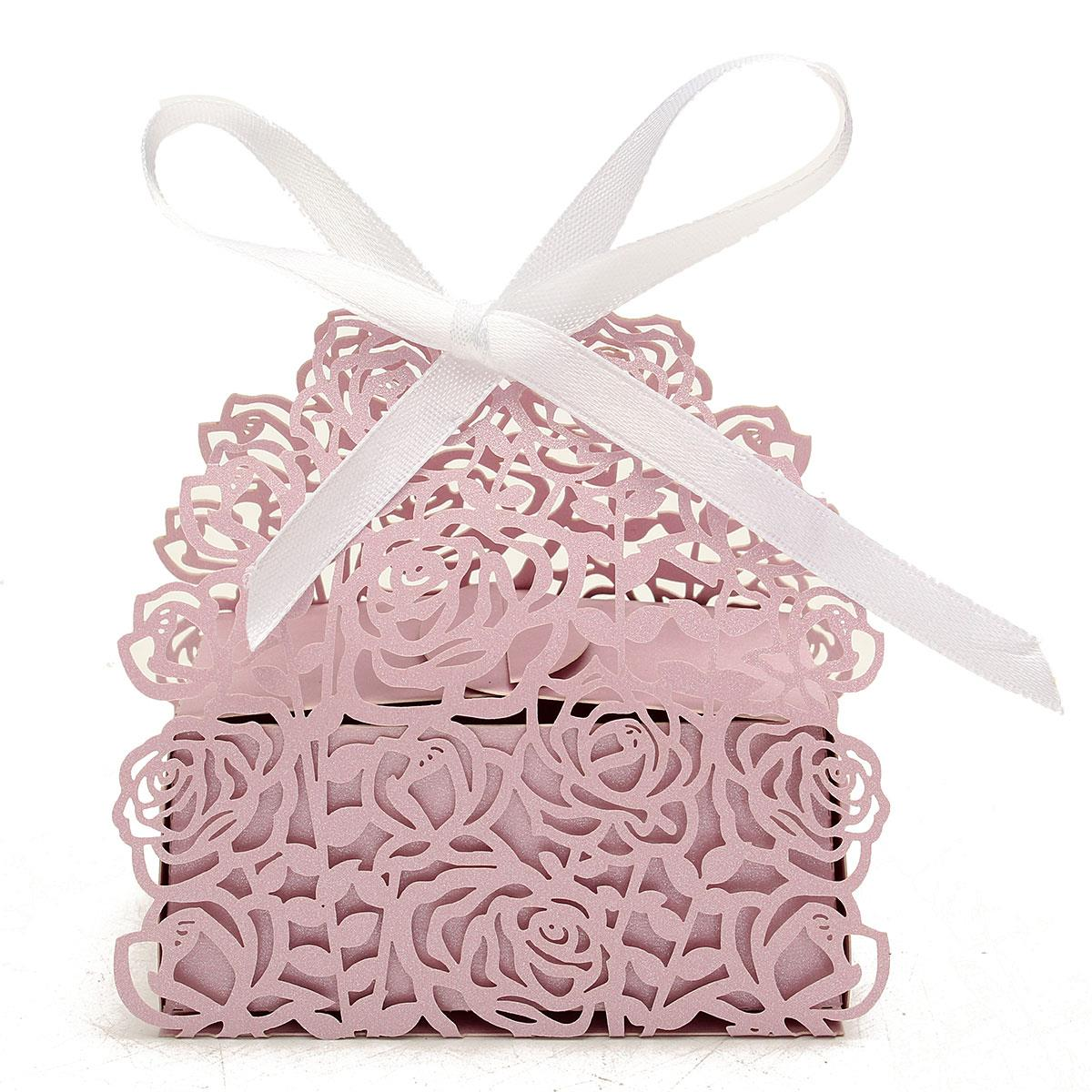 12Pcs Rose Laser Cut Candy Gift Boxes Ribbon Wedding Party Event ...