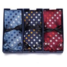 Vangise 7.5cm New high-quality mens ties gravatas dos homens tie set for men Polka Dot  neckties gift box packing