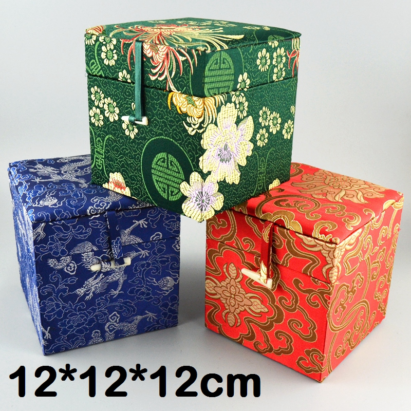 Роскошная китайская декоративная подарочная коробка для ювелирных изделий, деревянная коробка для хранения ткани, 12 кубиков, жаккардовая ш
