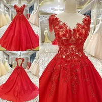 BackLakeGirls Custom Made Red Appliques Crystal Flowers V Neck Cap Sleeve Count Train Wedding Dresses Ball