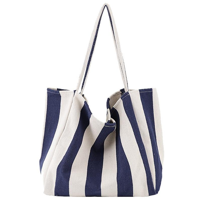 Women Canvas Shopping Bag Blue Striped Vintage Ladies Chic Casual Shoulder Bag Foldable Reusable Cotton Bag Female Tote Handbag