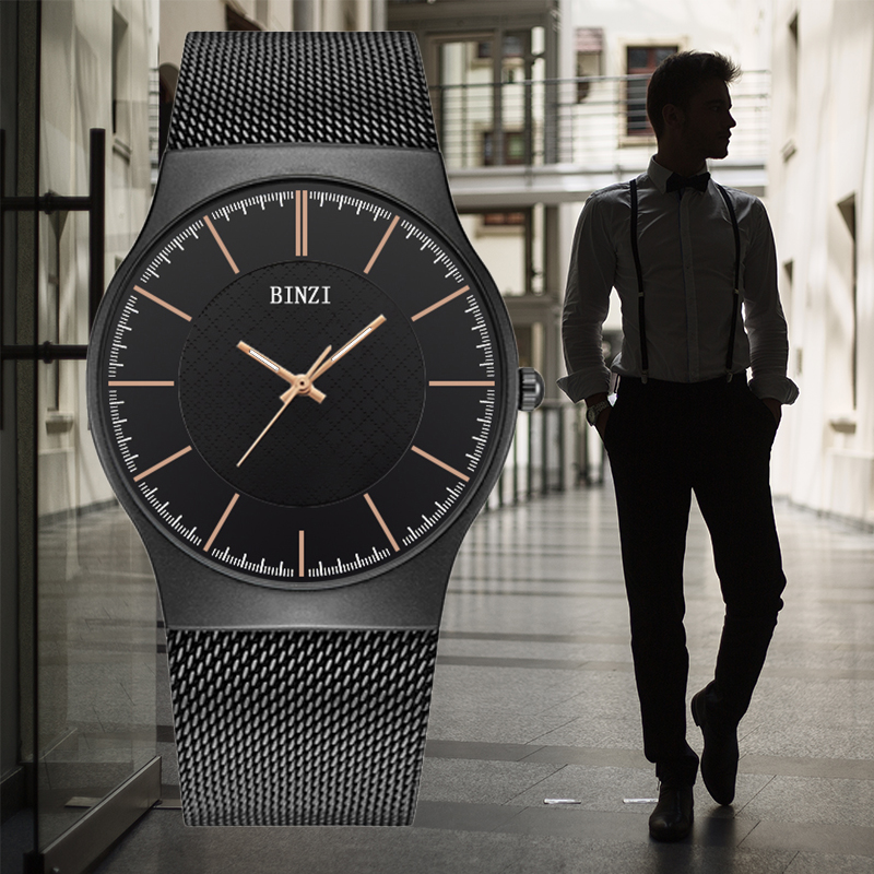 BINZI Men Watch 2018 Mens Watches Top Brand Luxury Quartz Wrist Watch Male Clock Relogio Masculino Black Milan Steel Wristwatch watches men luxury brand chronograph quartz watch stainless steel mens wristwatches relogio masculino clock male hodinky
