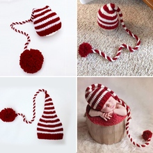 Baby knitting Long Tails Christmas Hat Newborn Photography Props Red White Stripe Crochet Baby Hats Baby Props For Fotografia set of fashion color matching knitting props clothes hat for baby s photography