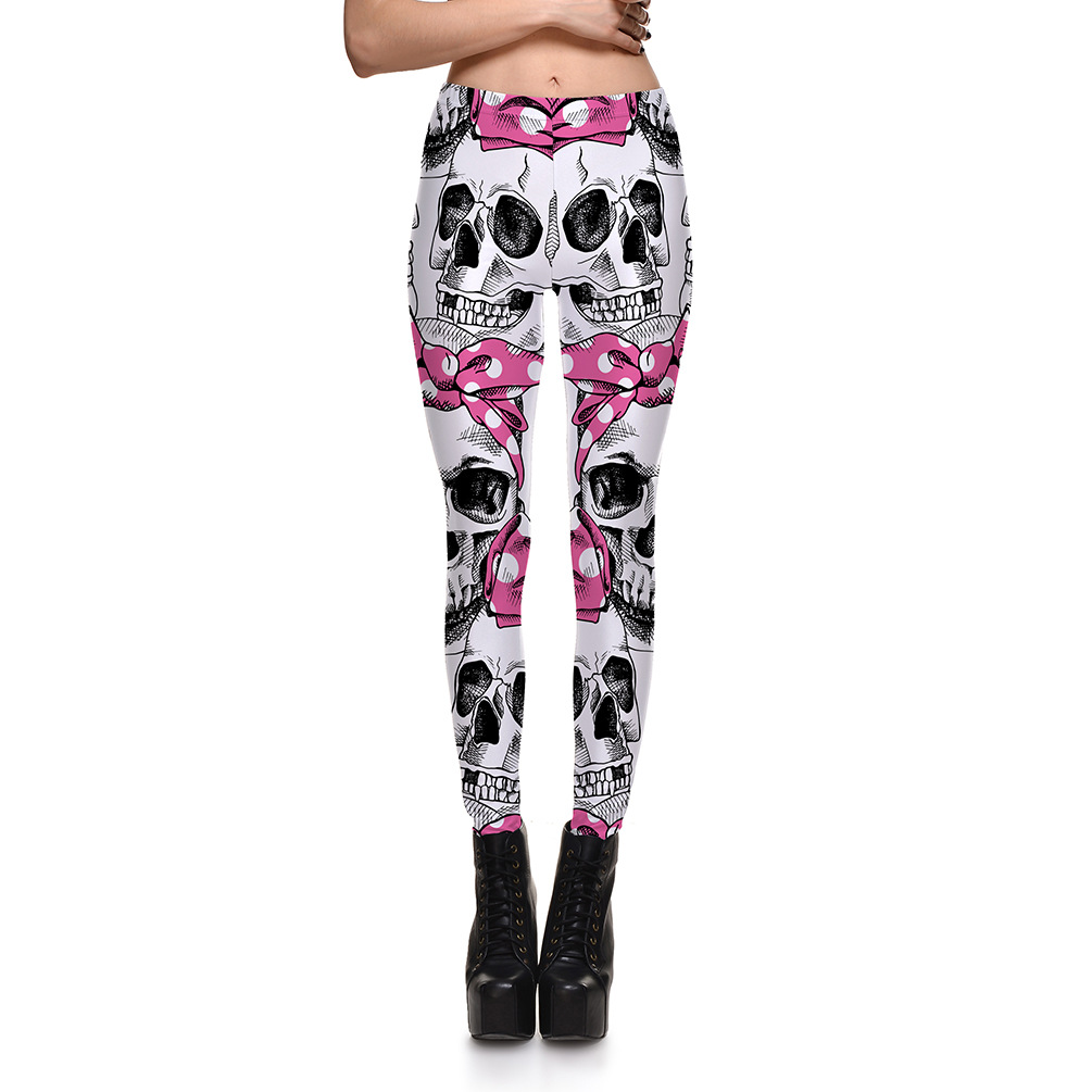pink bow skulls leggings for day of the dead halloween costume ideas