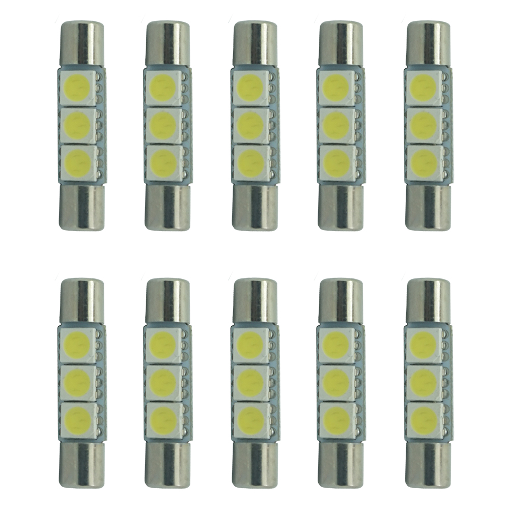 цены CQD-Light Durable Low Power Consumption 10x Visor Mirror Light Car 6614 29mm 5050 3smd Interior Festoon LED Bulbs