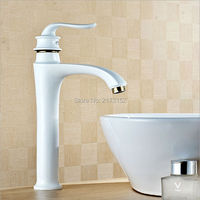 Luxury Grilled White Painted Tall Brass Bathroom Faucet Royal Single Handle Hot Cold Basin Sink Mixer
