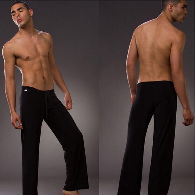 Hot 1 unids Negro Salón Pantalones Largos ropa de Dormir Escarpada Sleep Bottoms Sexy Hot New Diseñador Cintura 2014 Casa Gay Desgaste Caliente pijamas