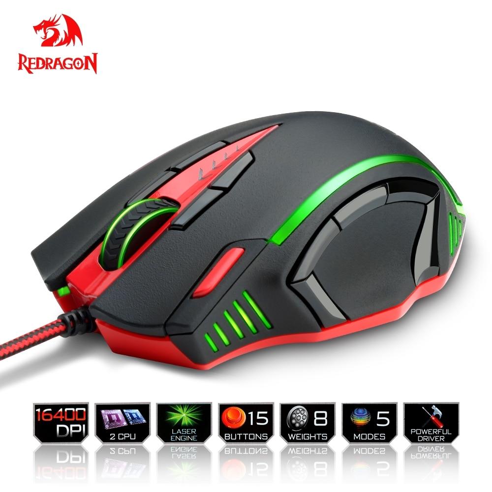 Redragon USB souris de jeu 16400 DPI 15 boutons RGB design ergonomique pour ordinateur de bureau accessoires souris programmables gamer lol