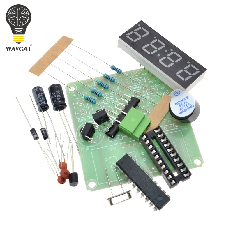 WAVGAT AT89C2051 Digital 4 Bits Electronic Clock Electronic Production Suite DIY Kit