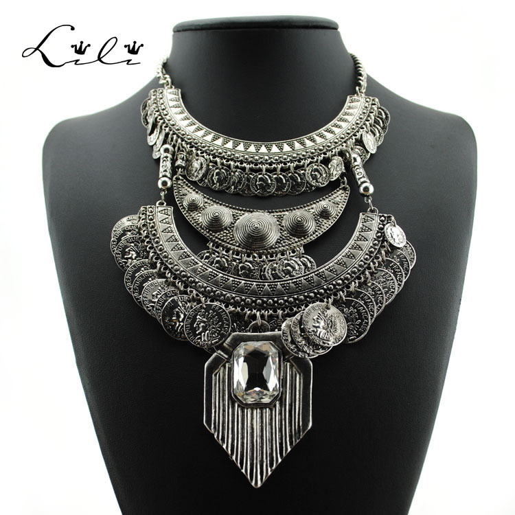 Vintage Multi Layer Chokers Statement Necklace Crystal ...