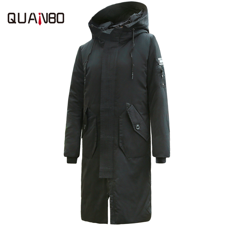 QUANBO Men Long   Down   Jacket 2018 New Arrival Fashion Hooded Winter Thick Warm Duck   Down     Coat   Brand Clothing