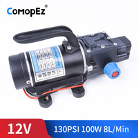 12V 100W 1.1Mpa 130PSI 8.3A 5.5L / Min Water Film High Pressure Self Priming Pump Automatically Open For Closing The Garden