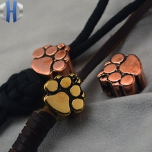 Steel Flame Paw Brass Fire Dog Print Knife Pendant Umbrella Rope Copper EDC Beads