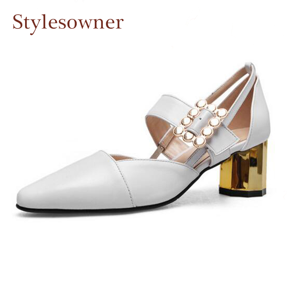 Stylesowner white genuine leather high heel shoes women spring summer pumps square toe chunky heel metal buckle women sandalsStylesowner white genuine leather high heel shoes women spring summer pumps square toe chunky heel metal buckle women sandals