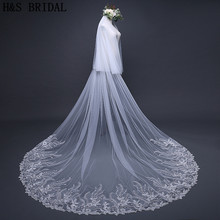 H&S BRIDAL Ivory Two Layers Wedding Veils Long Lace Edge Bridal Veil with Comb Wedding Accessories Bride Mantilla Wedding Veil