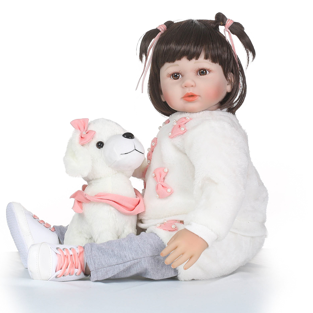 58CM girl doll reborn soft silicone reborn babies with puppy doll fashion children gift dolls toys bebes reborn bonecas menina58CM girl doll reborn soft silicone reborn babies with puppy doll fashion children gift dolls toys bebes reborn bonecas menina