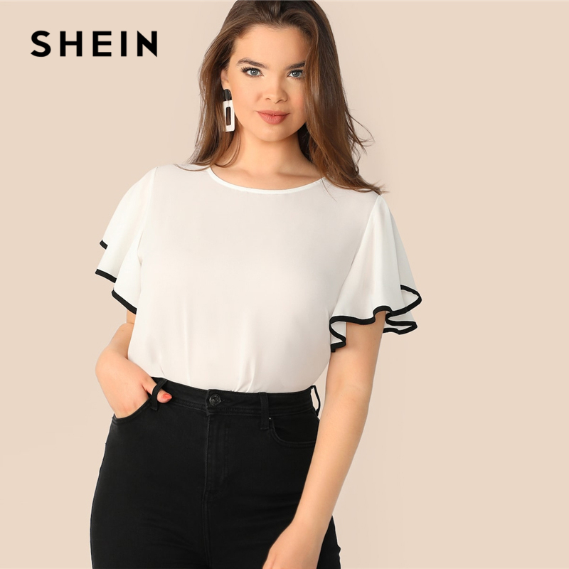 SHEIN Plus Size White Contrast Binding Butterfly Sleeve Button Ruffle Top Blouse Women 2019 Spring Casual Round Neck Top Blouses