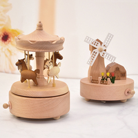 Wooden carousel Music Box Music Box Music Box Sky City Boutique Creative Girl Child Birthday Gift