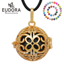 H170 Fashion Necklace Jewelry 18K Gold Plated Belly Pendant 20mm Colorful Chime Ball Angel Caller цена