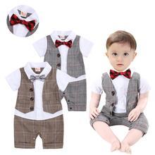c836e0b662 Conjunto de Roupas de bebê Menino Cavalheiro Terno de Verão Criança Roupa  Infantil Manga Curta Romper