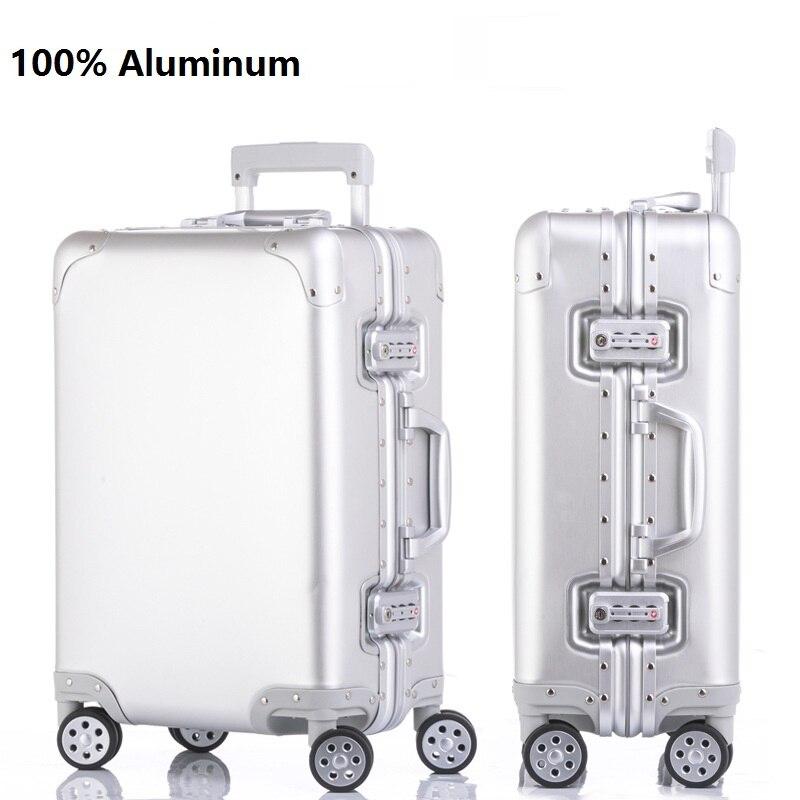 Impression personnalisée lisse 100% valise en aluminium spinner cabine de transport boîtier de chariot 100 bagages en aluminium