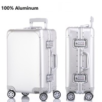 Smooth custom print 100% aluminum suitcase spinner Carry on Cabin Trolley Case 100 aluminium luggage
