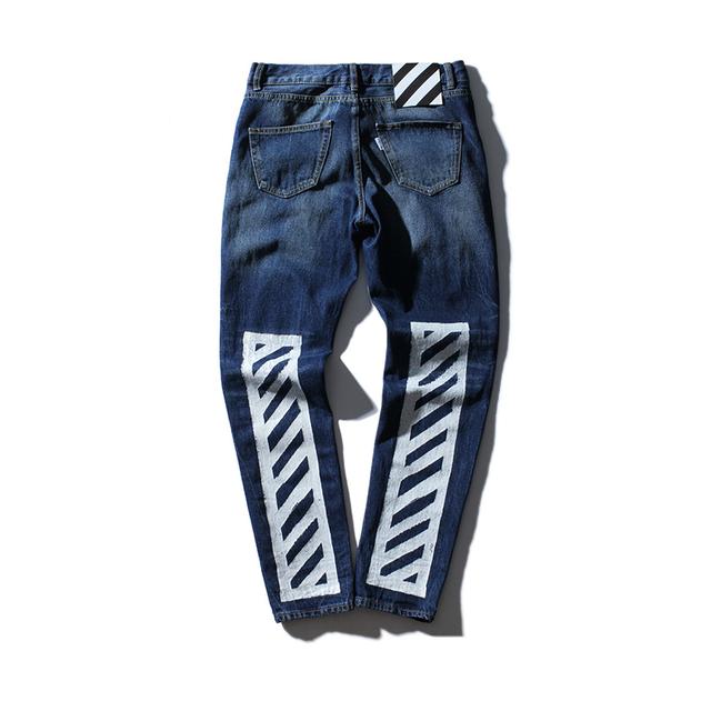 Nueva moda off white men's wear striped impreso men's jeans lavados raídos pantalones basculador kanye west off-botín blanco