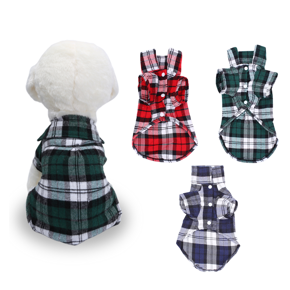 Dog Summer Vests Classic Plaid Pet Shirts For Small/Medium/Large Dogs In Red/Green/Blue Soft Summer Pet Supplies XS/S/M/L/XL