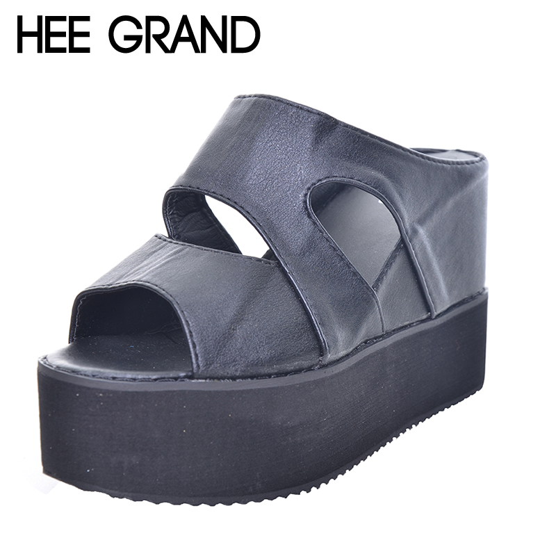 HEE GRAND 2017 Summer Slides Sexy Cut outs Women Platform Sandals Wedge High Heels Shoes Woman XWZ2482 hee grand women s wedges heel highs for 2017 summer cut outs love heart bottom pumps wedding shoes woman size 35 39 xwd401