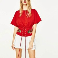 Fashion Tops Embroidery T Shirt Women Flower Waistband Kimono Lady Tops Fashion Summer Female Summer T