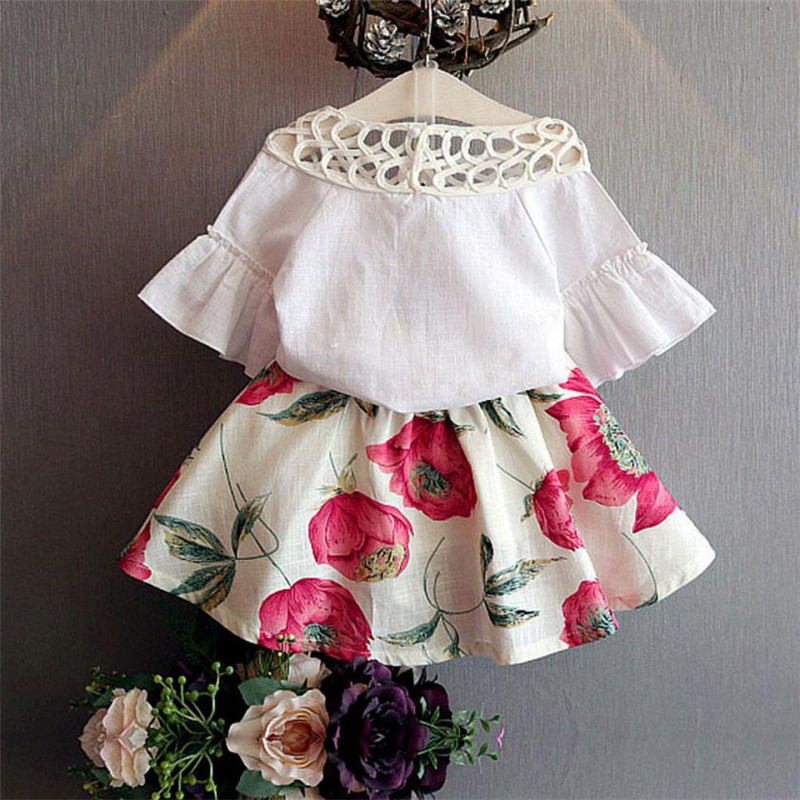2018 New Kids Baby Girls Short Sleeve Shirt + Flowers Set Summer Dress  Outfits vestido infantil roupas infantis menina MM3 655b3796b156