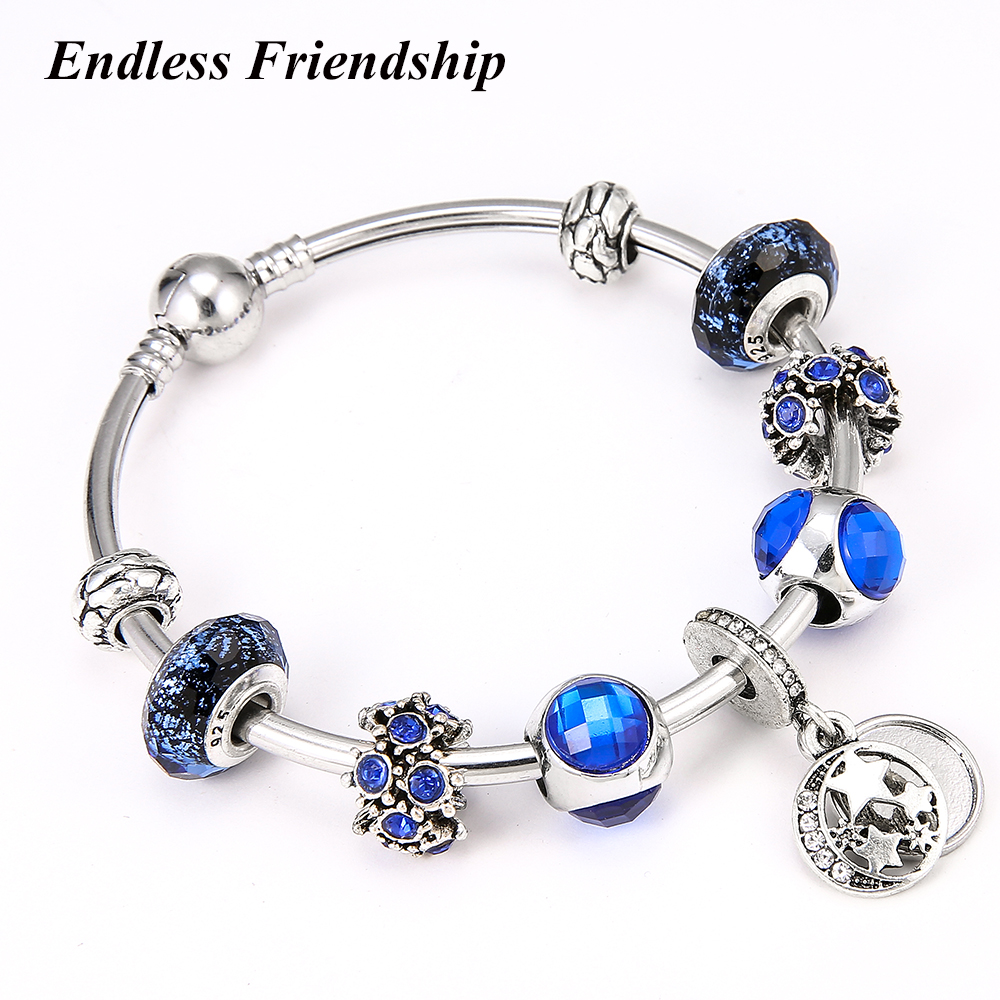 Fashion European Original Moon Star Charms Beads Fits Pandora Bracelets Bangles Woman Gift Jewelry Accessories