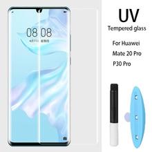 10 шт. УФ Клей Полный экран протектор Закаленное стекло полное покрытие 1 ультрафиолетовый свет для huawei P30 Pro