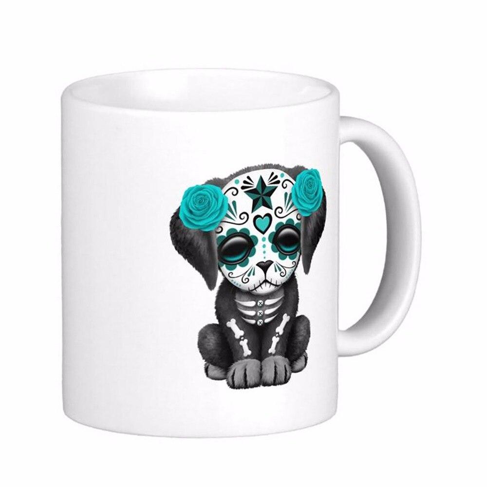 Cute Blue <font><b>Day</b></font> <font><b>Of</b></font> <font><b>The</b></font> <font><b>Dead</b></font> Puppy Dog Basic White Coffee Mugs Tea Mug Customize Gift By LVSURE Ceramic <font><b>Cup</b></font> Mug Travel Coffee Mugs