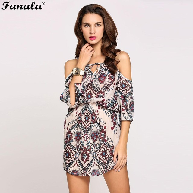 54e3de56c44 FANALA Summer Dress Women 3 4 Sleeve Cold Shoulder Spaghetti Strap Flora  Print Casual Chiffon Boho Beach Party Sexy Dress  30-25